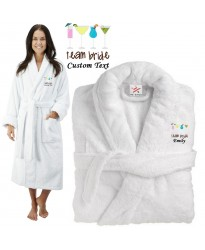 Deluxe Terry cotton with TEAM BRIDE COCKTAIL CUSTOM TEXT Embroidery bathrobe