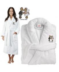 Deluxe Terry cotton with loving teddy bear couple CUSTOM TEXT Embroidery bathrobe