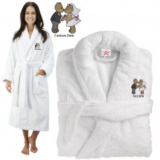 Deluxe Terry cotton with loving teddy bear couple CUSTOM TEXT Embroidery bathrobe