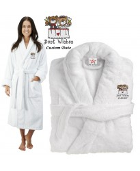 Deluxe Terry cotton with bear bride and groom best wishes CUSTOM TEXT Embroidery bathrobe