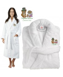 Deluxe Terry cotton with couple together forever teddy CUSTOM TEXT Embroidery bathrobe