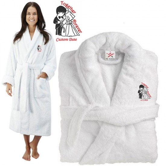 Deluxe Terry cotton with couple together forever CUSTOM TEXT Embroidery bathrobe