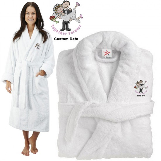 Deluxe Terry cotton with BRIDE & GROOM TOGETHER FOREVER CUSTOM TEXT Embroidery bathrobe
