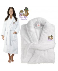 Deluxe Terry cotton with true love teddy bear CUSTOM TEXT Embroidery bathrobe