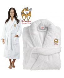 Deluxe Terry cotton with LOVE WITH TRUE ROMANCE CUSTOM TEXT Embroidery bathrobe