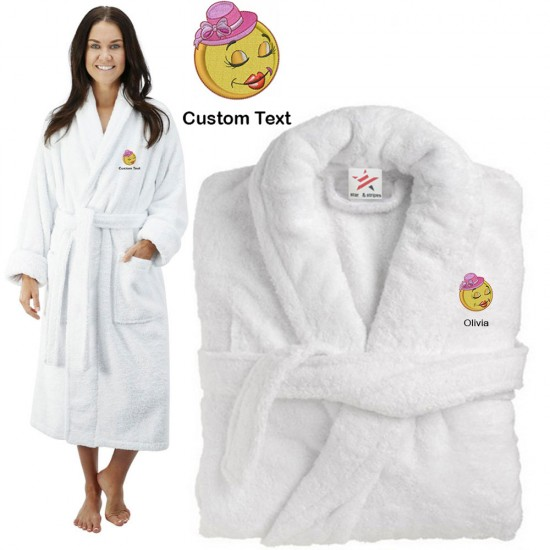 Deluxe Terry cotton with tweety CUSTOM TEXT Embroidery bathrobe