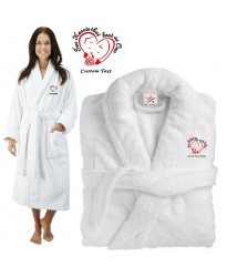 Deluxe Terry cotton with two hearts that beat as one CUSTOM TEXT Embroidery bathrobe