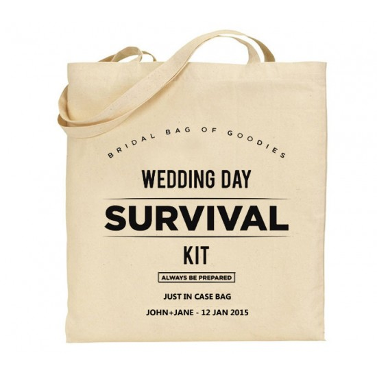 Bridal Survival Kit Tote Bag with your custom text