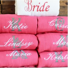 A White Bride FUSCHIA PINK Bridesmaid set Waffle robe with custom back Embroidery