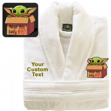 A BABY Cute Y-O-D-A Adopt Box with Custom TEXT Embroidery on TERRY bathrobe