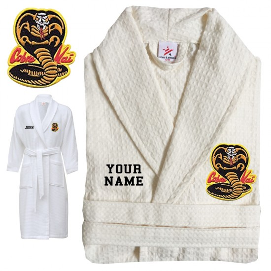 A Karate Gown with Custom TEXT Embroidery on WAFFLE bathrobe