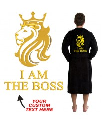 A Lion King BACK Custom Name Embroidery on TERRY bathrobe