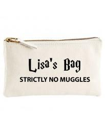 Personalised TEXT 'You name on bag - no Mug printed on cosmetic bag' on cotton purse bag