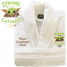 A BABY Cute Y-O-D-A with Custom TEXT Embroidery on TERRY bathrobe