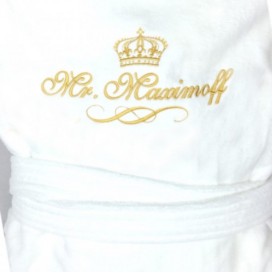 Terry TERRY Towel curly crown  FRONT + BACK custom name Embroidery bathrobe