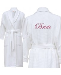 A classy Waffle bathrobe with BACK custom text Embroidery 235f1c1da