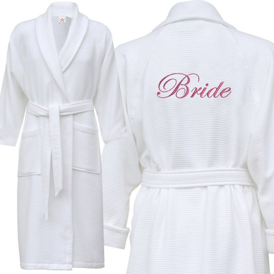 A classy Waffle bathrobe with BACK custom text Embroidery