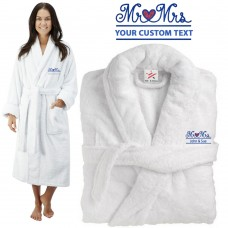 Deluxe Terry cotton with Mr & Mrs HEART CUSTOM TEXT Embroidery bathrobe