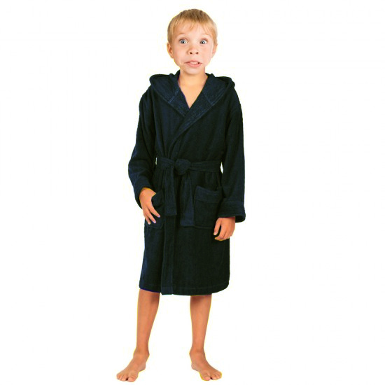 Children Black Hooded Robe