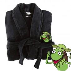 A Baby Y O D A Frog Logo Embroidery on TERRY bathrobe