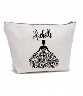 Personalised Bride Dress and CUSTOM Name on cotton purse bag