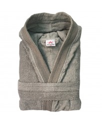 Unisex Charcoal stylish DIAMOND pipping HOODED Terry Bathrobes