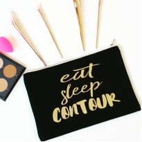 Personalised TEXT 'Eat Sleep Contour' on cotton purse bag