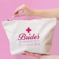 Personalised TEXT EMBROIDERY bag - Personalised BRIDES survival kit embroidered on cotton purse bag