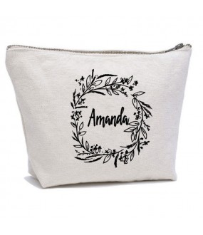 Personalised FLORAL with your name on cosmetic makeup bag