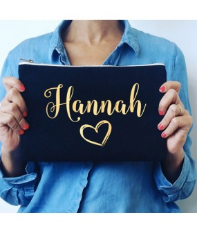 Personalised TEXT and Heart on cotton purse bag