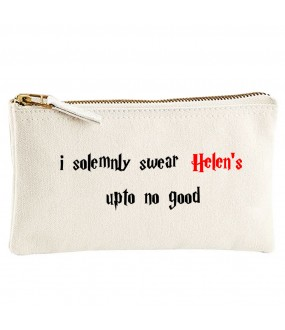 Personalised TEXT 'I swear (your name) up to no good' on cotton purse bag
