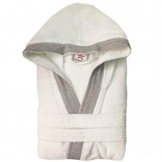 Unisex White stylish DIAMOND pipping HOODED Terry Bathrobes