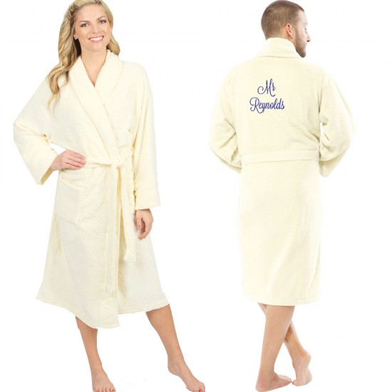 A Ivory Bathrobe Set for Mr & Mrs SET OF TWO Embroidery TERRY Towelling Bathrobe