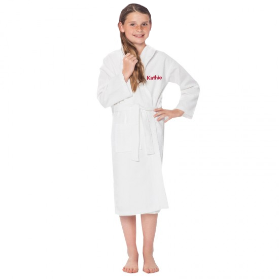 A TEXT Embroidery on Kids WAFFLE Bathrobe