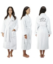 A Laurel wreath HEART custom TEXT FRONT+BACK Embroidery TERRY Towel Bathrobe