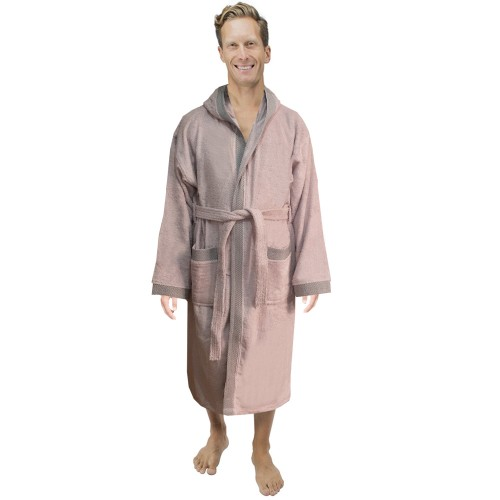 Unisex Salmon stylish DIAMOND pipping HOODED Terry Bathrobes