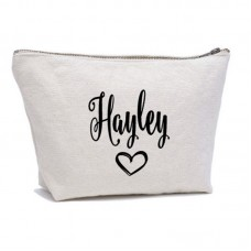 Personalised simple Heart and custom name printed on cotton purse bag