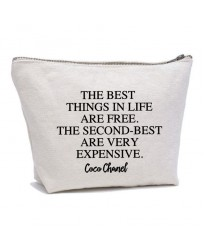 Personalised TEXT 'Best things in life are free.....' on cotton purse bag