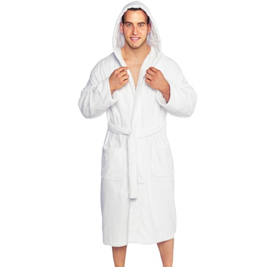 A Pipping Hooded Mr & Mrs SET OF TWO Embroidery TERRY Towelling Bathrobe