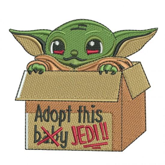 A BABY Cute Y-O-D-A Adopt Box with Custom TEXT Embroidery on TERRY bathrobe