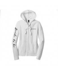 Bridal Wedding Zip up Hoodie with customised Text
