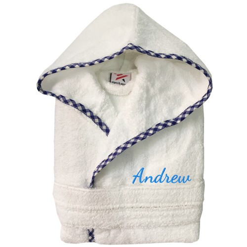 A custom name Embroidery on Kids contrast Pipping Hooded Terry Bathrobe