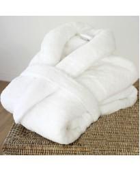 A Super Luxury Zero Twist yarn Bathrobe in 100% Cotton Terry White