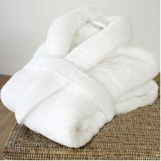 A Super Luxury Zero Twist yarn Bathrobe in 100% Cotton Terry White