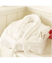 A LUXURY TERRY cotton with custom Times Roman font TEXT Embroidery bathrobe