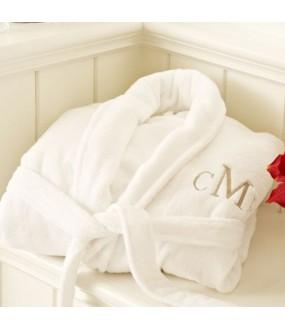A LUXURY VELOUR cotton terry with custom Times Roman font TEXT Embroidery bathrobe