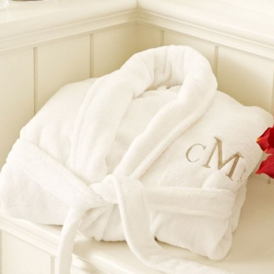 A LUXURY VELOUR cotton terry with custom Times Roman font TEXT Embroidery bathrobe