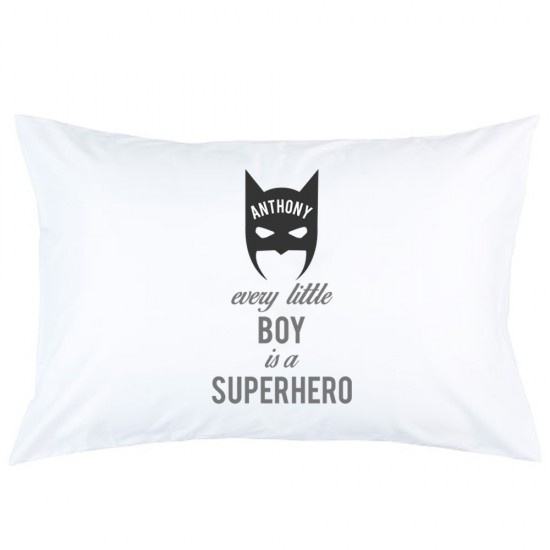 Personalised Batman every little boy is a super hero printed pillowcase covers