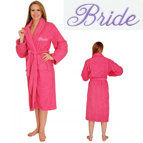 Custom TEXT Embroidery on FRONT TERRY Robe