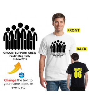 Stag T Shirt Groom Support Crew Custom Text